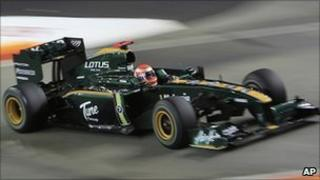 Lotus Formula 1 driver Jarno Trulli of Italy during a practice session for the Singapore Grand Prix, 24 September 2010