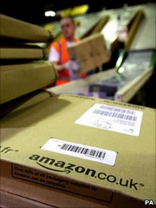 Amazon parcels ready for dispatch