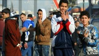 Young men near the capital Tunis, Tunisia (13 Jan 2011)
