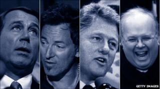 From left: John Boehner, Bruce Springsteen, Bill Clinton and Karl Rove