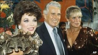 Dynasty stars Joan Collins, John Forsythe and Linda Evans in 1983