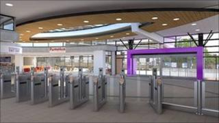 Artist's impression of interior of Peterborough railway station