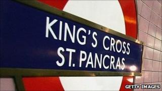 A Tube sign at King's Cross St Pancras station