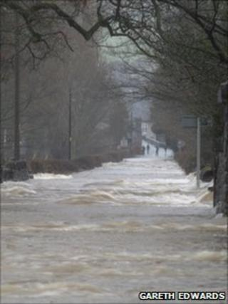 Flooding in Llanrwst, Conwy at the weekend