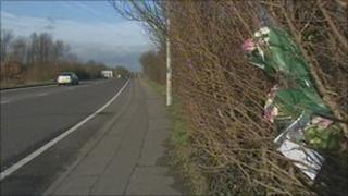 Floral tributes at A414 accident site