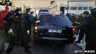 Police at Korydallos high security prison in Athens