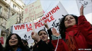 Tunisians protest on the streets of Paris. 15 Jan 2011