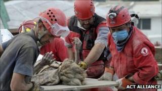 Rescuers in Haiti in January 2010