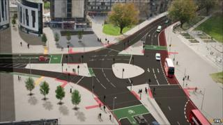 Artists impression of revamped Elephant and Castle roundabout