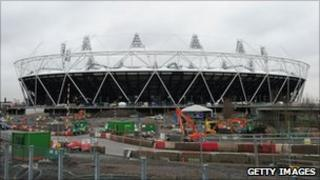 London 2012 Olympic Stadium under construction