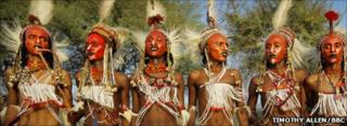 Wodaabe men participate in the Gerewol beauty contest