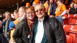 Pauline Greene and Philip Blakemore at Blackpool FC game