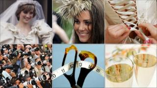 Diana, Princess of Wales; Kate Middleton; a wedding dress; champagne glasses; tailor's scissors; paparazzi