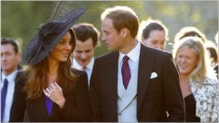 Prince William and Kate Middleton leave the wedding of their friends Harry Mead and Rosie Bradford, October 2010