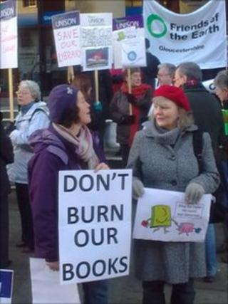 Library protest Gloucester
