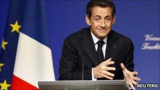 President Nicolas Sarkozy delivers New Year speech to French agricultural sector in Truchtersheim