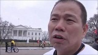 Wang Yongli outside the White House