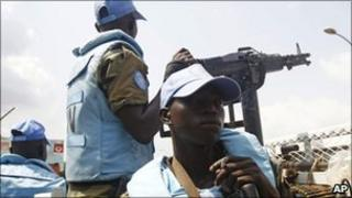 UN troops provide security at the Golf Hotel in the city of Abidjan, Ivory Coast, December 2010