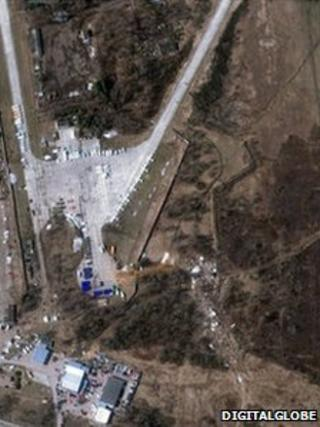An aerial shot from 12 April shows the Polish jet's wreckage (centre-right) close to Smolensk's Severny airport (image: DigitalGlobe)