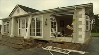 Static caravan that was hit by a lorry
