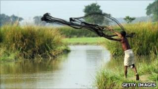A Bangladeshi fisherman throwing his net to catch fish in Mymensingh