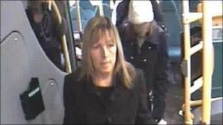 CCTV image of Sharon Beckerson boarding a bus