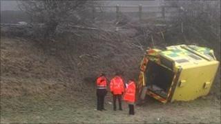 An ambulance overturned transferring a patient from Enniskillen to Belfast