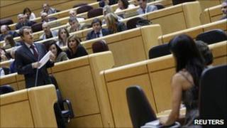 File picture of the Spanish parliament (lower chamber) with Prime Minister Jose Luis Rodriguez Zapatero speaking (left)