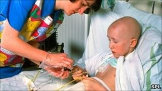 Young boy being treated for leukemia