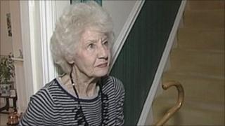 Doris Thiele and her walking stick