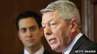 Leader of the Labour Party Ed Miliband (left) and former shadow chancellor Alan Johnson