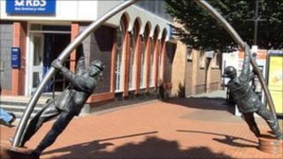 Miner & Steelman sculpture in Wrexham