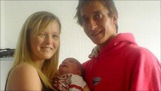 Louise Evans and Thomas Padden and baby Logan