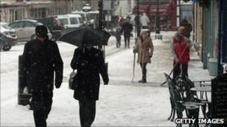 Shoppers in the snow in Wells 20 December