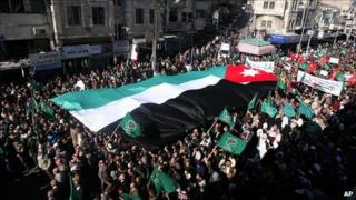 Protesters in Amman, 21 January 2011