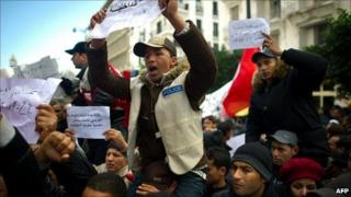 Police join a protest against Tunisia's interim government. 22 January 2011