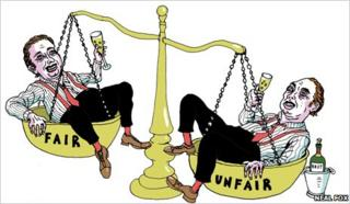Bankers on scales of justice, illustration by Neal Fox