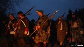 Jacobite night march re-enactment