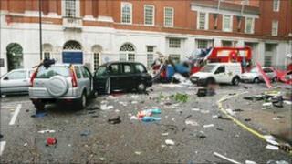 Tavistock Square after the bus bombing