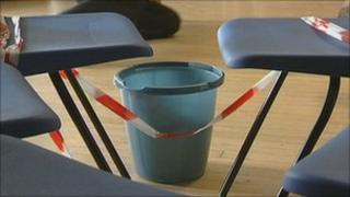Buckets in a classroom at Brockhill Park Performing Arts College