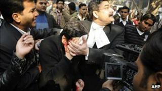 Dr Rajesh Talwar after being attacked outside a court near Delhi