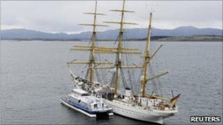 "The German naval training ship ""Gorch Fock"" near the port of Ushuaia (24 Jan 2011)"