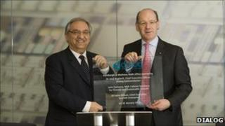 Dialog's chief executive, Jalal Bagherli, and Finance Secretary John Swinney at the opening of the new Edinburgh premises