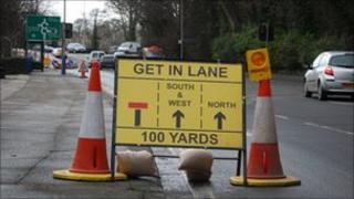 Quarterbridge roundabout road works