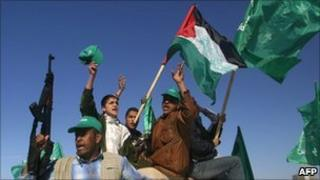 Hamas supporters celebrate election victory in Gaza Strip (Jan 2006)