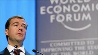 Russian President Medvedev speaking in Davos in 2007