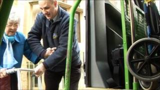 Pensioner using Dial-a-Ride