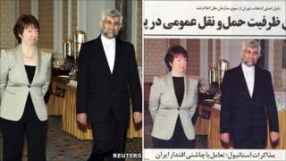 Original photo of Lady Ashton with Iran's Saeed Jalili (left) and altered photo that appeared in Iranian press