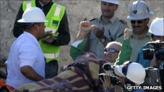 Jose Henriquez being rescued from the mine (13 Oct 2010)