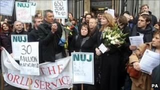 Protesters outside Bush House, home to the BBC World Service